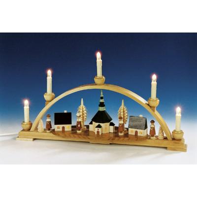 Schwibbogen Motiv Seiffener Kirche und Innenbeleuchtung