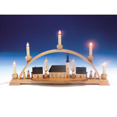 Schwibbogen mit Schneeberger Kirche und Innenbeleuchtung