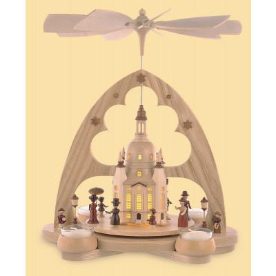 Teelicht-Bogenpyramide Frauenkirche mit LED-Beleuchtung