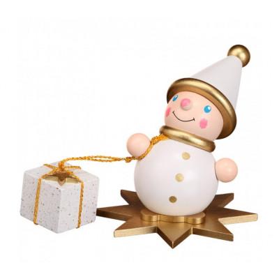 Wichtel mit Geschenk auf Stern weiß