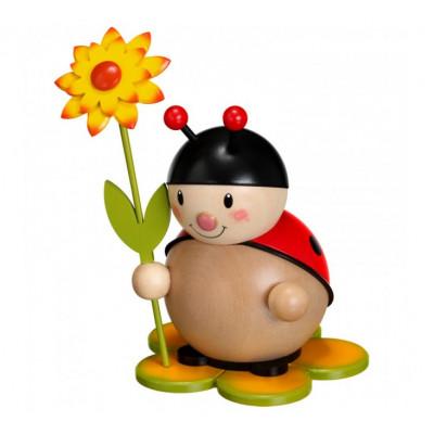 Marienkäfer mit Blume rechts groß