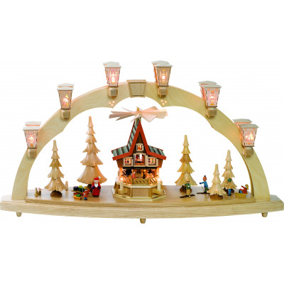 Schwibbogen Weihnachtswald mit Adventshaus