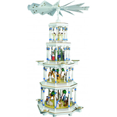 Pyramide Christi Geburt 4-stöckig weiß