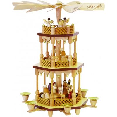 Pyramide Christi Geburt 2-stöckig natur