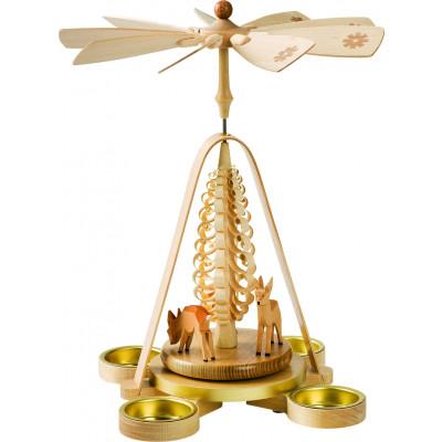Teelichtpyramide mit Rehen
