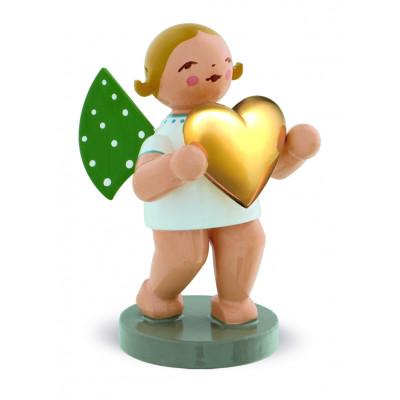 Liebesbote Engel mit vergoldetem Herz