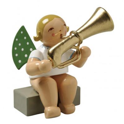 Engel mit Basstrompete sitzend