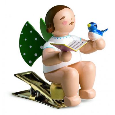 Engel mit Liederbuch und Vogel auf Klemme