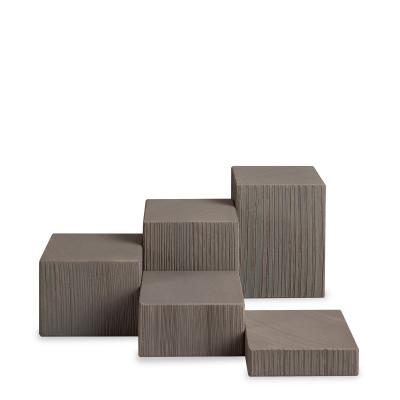 Miniatur Deko-Set, 5-teilig, Klötze sägerau, grau