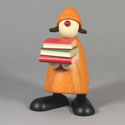 Gratulantin Lilly mit Büchern, gelb
