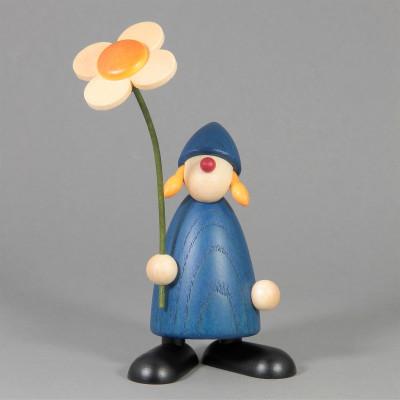 Gratulantin Susi mit Blume, blau