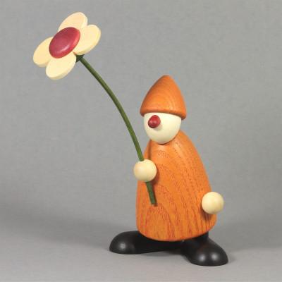 Gratulant Paule mit Blume gratulierend, gelb