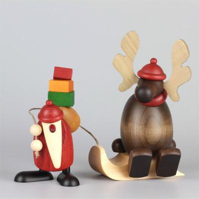 Weihnachtsmann mit Faultier Elch Olaf