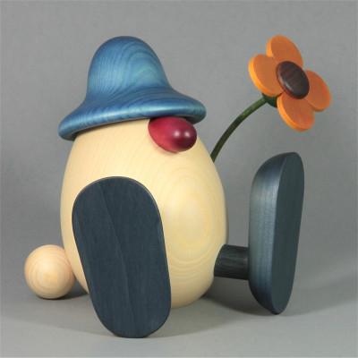 Eierkopf Vater Erwin mit Blume sitzend, groß, blau