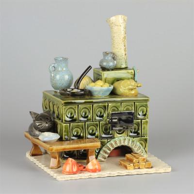 Keramik Räucherofen Herd grün eckig