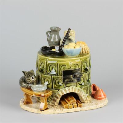Keramik Räucherofen grün rund, klein
