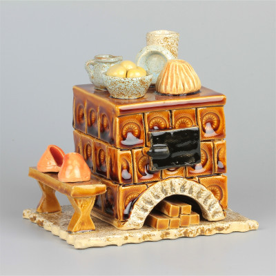 Keramik Räucherofen braun eckig, klein