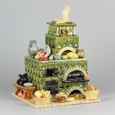 Keramik Räucherofen Zuckerbäckereiofen grün eckig