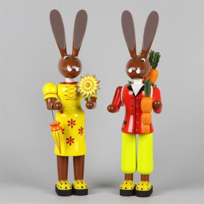 Osterhasenpaar gelb/rot, 40 cm