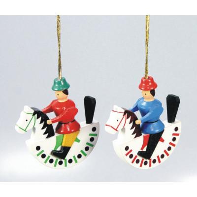 Baumbehang 2 Reiterlein, rot und blau