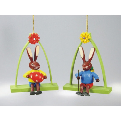 Baumbehang Sitzende Hasen im Bogen, 2-teilig