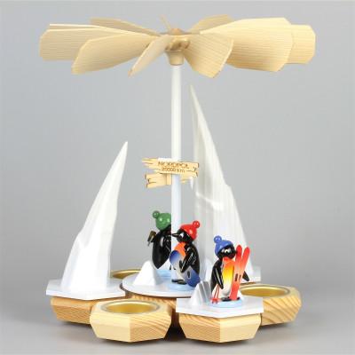 Teelichtpyramide Pinguine Wintersportler