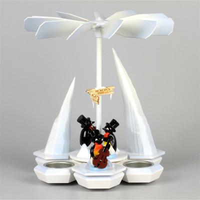 Teelichtpyramide Pinguinband, weiß