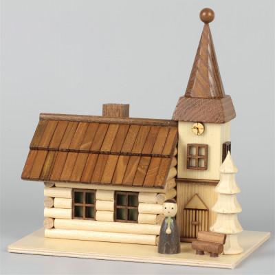 LED-Lichterhaus Räucherhaus Dorfkirche mit Pfarrer