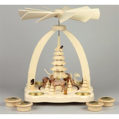 Geschnitzte Teelichtpyramide Dammwild farbig - 27 cm