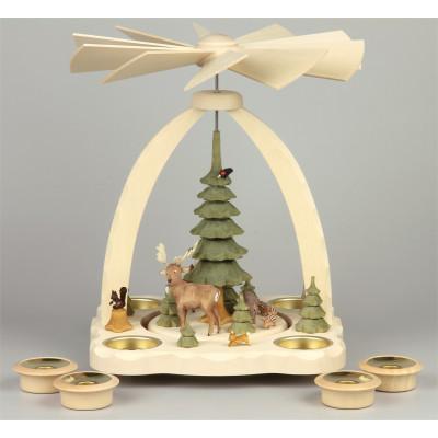 Geschnitzte Teelichtpyramide Wildtiere mit grünen Bäumen - 27 cm