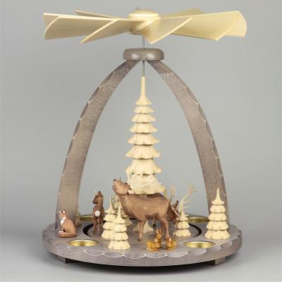 Geschnitzte Teelichtpyramide Hirsche grau - 37 cm