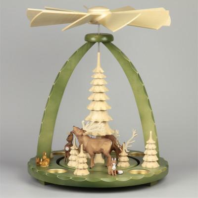 Geschnitzte Teelichtpyramide Hirsche grün - 37 cm