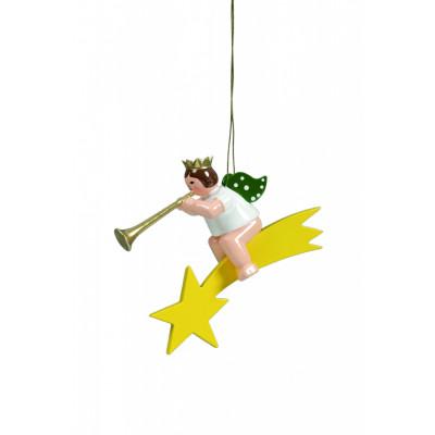 Engel mit Fanfare auf Sternschnuppe