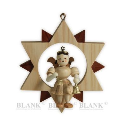 Engel sitzend mit Glocken im Stern