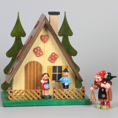 Räucherhaus mit Hexe, Hänsel und Gretel