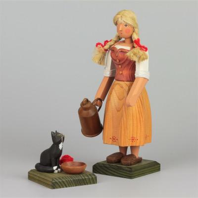 Bäuerin mit Katze, groß