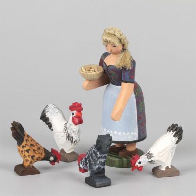 Bäuerin mit Hühnern, 5-teilig klein