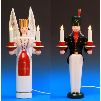 Lichterengel und Lichterbergmann farbig, 49 cm, elektrisch