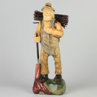 Geschnitzter Holzfäller farbig, 32 cm