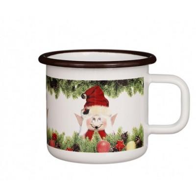 Emaille-Becher Wichtel Weihnachtselfe