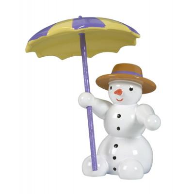 Schneemann sitzend mit Schirm