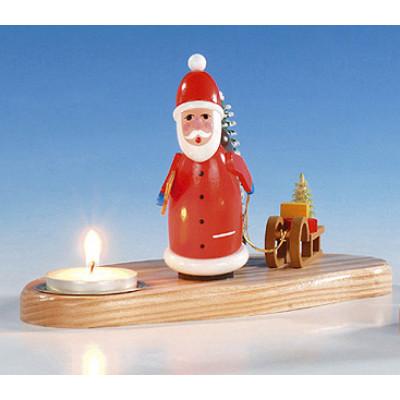 Teelichthalter mit Weihnachtsmann, bunt