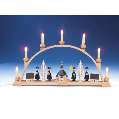 Schwibbogen mit Seiffener Kirche und Innenbeleuchtung