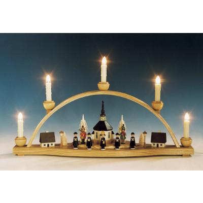 Schwibbogen Seiffener Kirche mit Laternenkinder, bunt