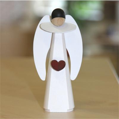 KWO Moderner Engel mit Kerze, weiß