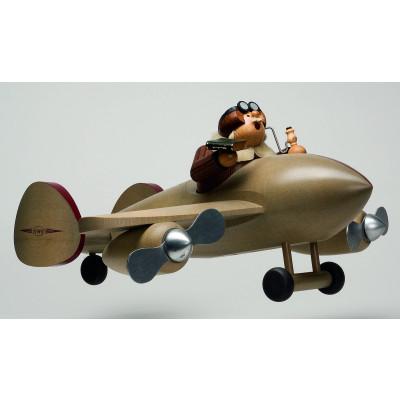 Räuchermännchen Pilot mit Flugzeug