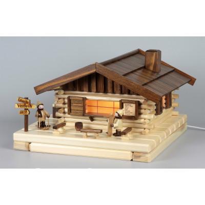 Lichterhaus Räucherhaus Blockhütte Skihütte mit Figuren