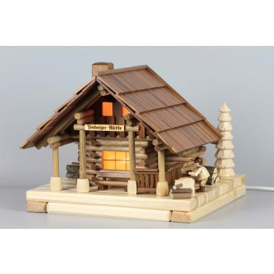 Lichterhaus Räucherhaus Blockhütte Freiberger Hütte mit Figur