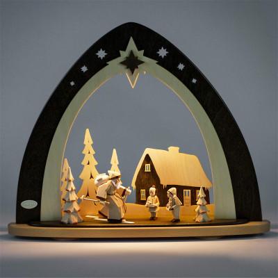 LED Lichterspitze 'Waldweihnacht' mit geschnitzten Figuren