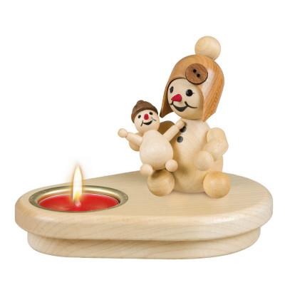 Teelichthalter Schneemädchen mit Puppe